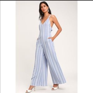 NWT Lulu's Blue and White Striped Jumpsuit